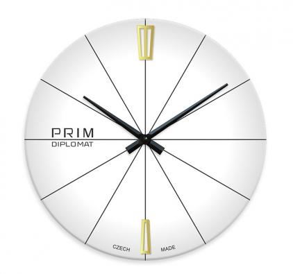 2. Skleněné hodiny Diplomat, Ø 29 cm, vyrábí Prim, www.prim-shop.cz