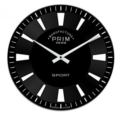 6. Skleněné hodiny Sport, Ø 29 cm, vyrábí Prim, www.prim-shop.cz