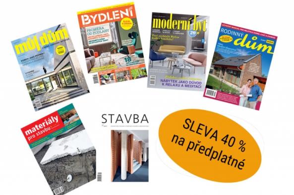 Na letošním ročníku Stavebních veletrhů Brno, které se konají od 26. do 29.4. na brněnském výstavišti, nabídne vydavatelství Business Media CZ na svém stánku č. 159 v pavilonu P předplatné svých titulů o bydlení a stavbě se 40% slevou. Zájemci si budou také moci odnést vybraná starší čísla časopisů zdarma.
