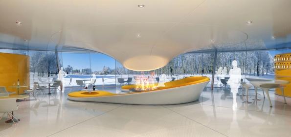 Hlavní část nerealizovaného projektu Konopiště Resort (2008) snázvem Klub Volavka. Měl být ústředním bodem setkávání rezidentů ajejich přátel (2)