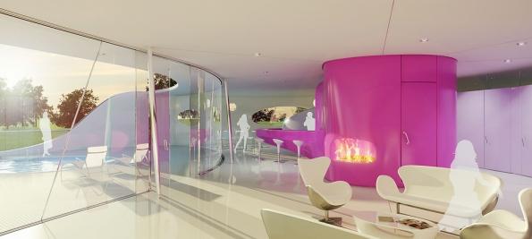 Součástí projektu Resort Konopiště byla iVila Kaplicky, která svým vzhledem připomíná tajemného mořského tvora. Budově dominuje středový tubus, vněmž vede výtah (2)