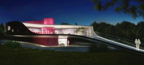 Součástí projektu Resort Konopiště byla iVila Kaplicky, která svým vzhledem připomíná tajemného mořského tvora. Budově dominuje středový tubus, vněmž vede výtah (1)