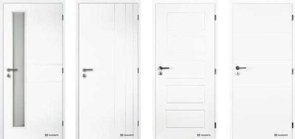 Zleva: Bílé lakované dveře Masonite ANGLET Vertika se specifickým prolisem a pískovaným zasklením; Bílé profilované dveře Masonite BORDEAUX lakované v odstínu RAL 9003; Obdélníkové prolisy bílých dveří Masonite OREGON mohou být nahrazeny prosklením; Interiérové profilované plné bílé dveře Masonite QUATRO (Masonite.cz)