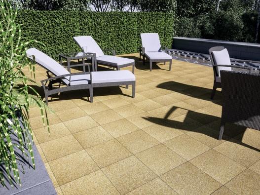 Při výběru zahradního nábytku je nutné přemýšlet také ovhodném povrchu terasy. Dobrým řešením mohou být nejrůznější dlažby sreliéfním obrubníkem (PRESBETON)