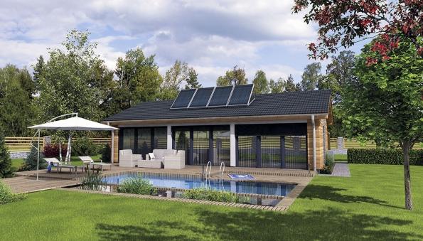 Rodinný dům GS PASIV 12 je pasivní bungalov skompletně prosklenou jižní fasádou, která zaručuje dostatečné sluneční zisky ivzimních slunečných dnech.