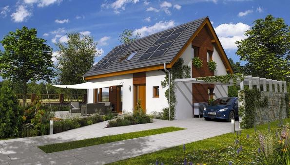Rodinný dům GS PASIV 13 má jednoduchou vnitřní dispozici, kdy propojení místností opticky zvětšuje prostor rodinného domu.