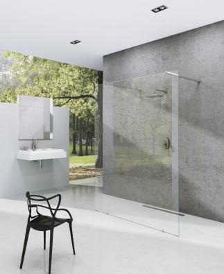 Walk-in model Free (Ravak) umožňuje sestavení sprchového koutu namíru, včetně výřezů, šikmin adalších nadstandardních požadavků. Výplň ztransparentního bezpečnostního skla 8mm, cena podle provedení (www.ravak.cz)