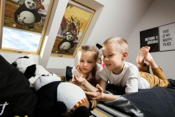 """Připravte dětem pohádkový svět s novými roletami FAKRO, které zcela promění podkroví. Již dnes mohou pokojík Vašeho dítěte navštívit hrdinové z pohádek studia DreamWorks: """"Trolls"""" (Trollové), """"How to Train Your Dragon"""" (Jak vycvičit draka), """"Kung Fu Panda"""", """"Penguins of Madagascar"""" (Tučňáci z Madagaskaru)."""
