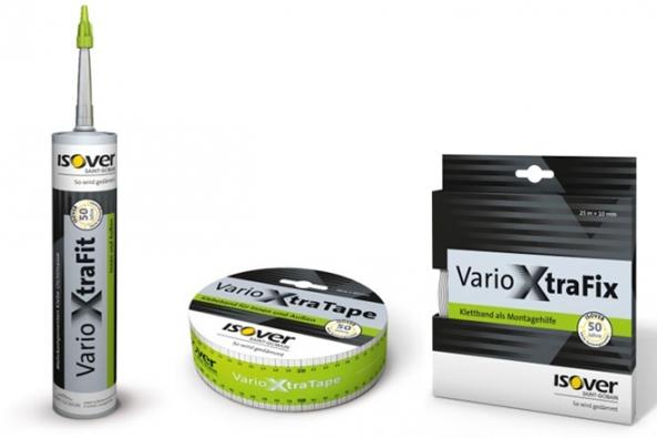 Systémové doplňky Isover VARIO®  Xtra – elastický těsnicí tmel a vysoce lepicí spojovací pásky.
