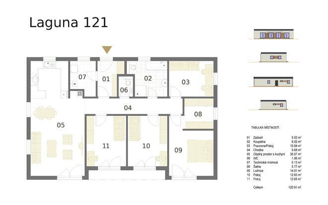Dřevostavba Lauguna 121 s dispozicí 5+kk má půdorys ve tvaru obdélníku o rozměrech 15 x 9,7 m. Interiér má promyšlené dispoziční rozdělení domu na společenskou a klidovou část. (Atrium.cz)