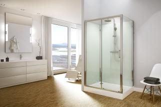 Celoskleněné sprchové kabiny Modul 1400 se skládají ze speciální akrylátové vaničky, dvou zadních skleněných stěn z bezpečnostního skla  a termostatické baterie (SANSWISS)