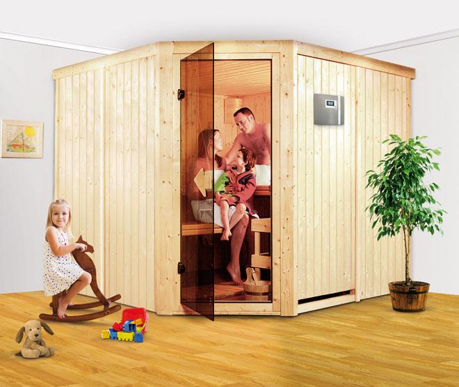 Domácí finská sauna poskytuje uvolnění a pečuje o zdraví celé rodiny. Na fotografii model Farin. (Foto: Mountfield)