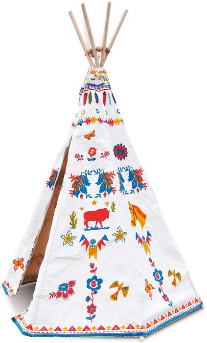 Indiánské dřevěné teepee dodomu inazahradu, kombinace masivního dřeva adžínoviny, design Nathalie Lété, Ø 100 cm, výška 170 cm, www.space4kids.cz