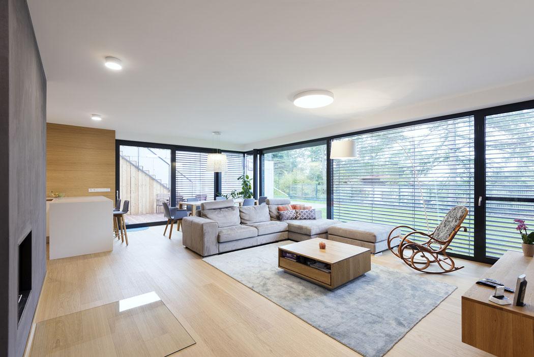 Společný obývací prostor charakterizuje vzdušnost avolnost. Napomáhá tomu masivní prosklení. Kuchyňská linka adalší vybavení interiéru bylo vyrobeno namíru podle návrhu architektky Mirky Gašparové.