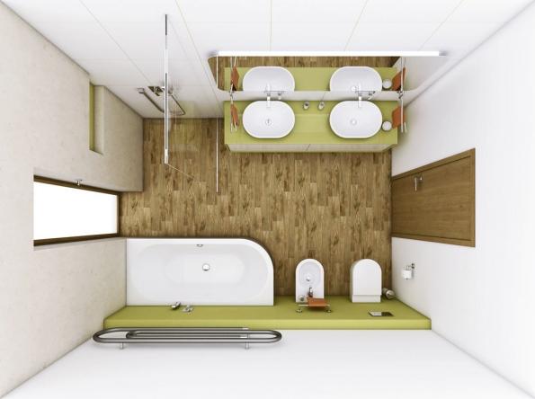 Pro rodinu: Vizualizace velké koupelny sází vtomto případě naeleganci oblých tvarů apřizpůsobuje jim veškerou sanitární keramiku, nábytek iradiátor, www.perfecto.cz