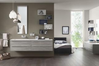 Sestava koupelnového nábytku Proggetto+, dvě umyvadlové skříňky vdřevěném dekoru se dvěma zásuvkami, 100 x 48cm, police 40x28cm, nástěnné zrcadlo 144 x 48cm, Inda, www.designbath.cz