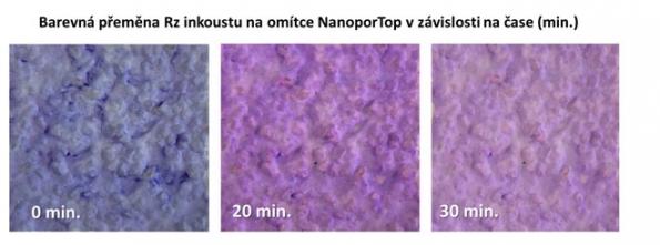 Barevná přeměna Resazurinového inkoustu na omítce NanoporTop v závislosti na čase - Z výše uvedeného obrázku je patrné, že na povrchu fasádní omítky Baumit NanoporTop opatřené nátěrem Resazurinovým inkoustem dochází k fotokatalytické reakci, tedy že bylo dosaženo výrazné barevné přeměny Resazurinového inkoustu účinkem UV záření z počáteční modré na konečnou světle růžovou barvu. Je tak potvrzeno, že povrch fasádní omítky Baumit NanoporTop je skutečně fotokatalyticky aktivní a tím aktivně působí proti nečistotám, řasám a plísním na povrchu fasád. Prodlužuje tak životnost fasád a investic vložených do jejich obnovy.