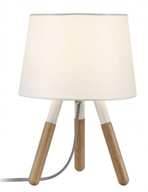 Dřevěnou podnož alátkové stínidlo má stolní lampa Neordic Berit značky Paulmann, 20 W, cena 1427Kč,  www.aulix.cz