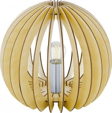 Dřevěné lamely vpřírodním odstínu tvoří stínidlo stolní lampy Cossano, Ø 26cm, výška 22cm, cena 559Kč, www.hornbach.cz