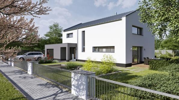 Rodinný nepodsklepený dům DIANA moderního tvaru větší velikostní kategorie (7+1) se sedlovou střechou osklonu 25° vhodný doměstské zástavby (THERMO PLUS)