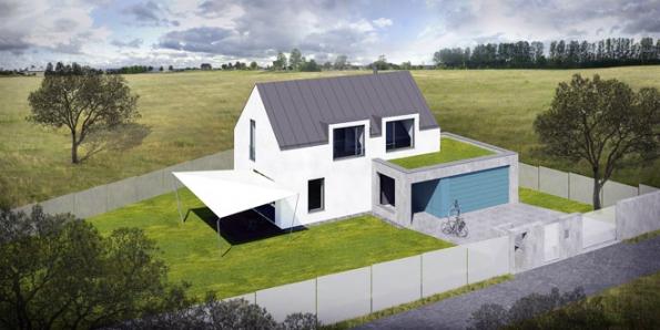 """Vizualizace alternativy moderního rodinného domu odtýmu BREAK POINT. Jak přiznává architekt Tomáš Veselý, katalogové projekty """"nemusí"""", neboť každý klient je individualita."""