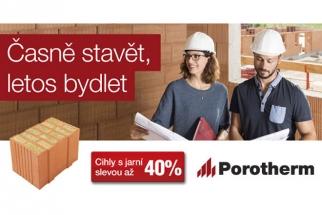Rozhodnout se pro stavbu rodinného domu není lehký úkol. Ještě těžší je zvolit správné materiály, které by byly kvalitní a zároveň cenově dostupné. Využitím exkluzivního SLEVOVÉHO POUKAZU získáte obojí! Tedy keramický systém Porotherm, a to s garantovanou slevou ve výši až 40 %.