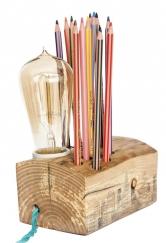 Stolní lampa se stojánkem natužky, dřevo, Da Wanda, www.dawanda.com