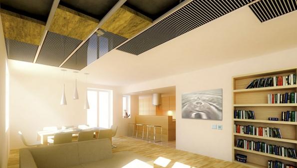 Stropní panely pracují na principu infračerveného záření. Povrchová úprava a rovnoměrné rozložení teplot zajišťují předání maximálního podílu energie formou sálání (FENIX)