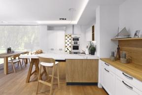 Kuchyň Style propojuje modernistické linky shistorizujícími prvky atvary, neobvyklým doplňkem je pak pop-artová vinotéka se zabudovanými zářivkami, www.sykora.eu