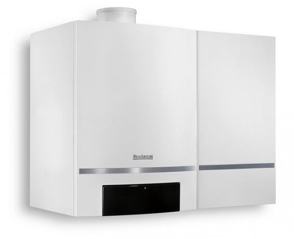 Plynový nástěnný kondenzační kotel Logamax plus GB162 se zásobníkem. Trvalý výkon teplé vody 33 kW umožňuje zajistit 15,5 litru vody za minutu s teplotou 40°C (BUDERUS)