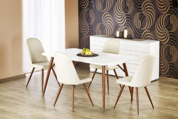 Jídelní židle K214 má čalounění zekokůže anohy  zmasivní třešně, cena 1565Kč, www.jena-nabytek.cz