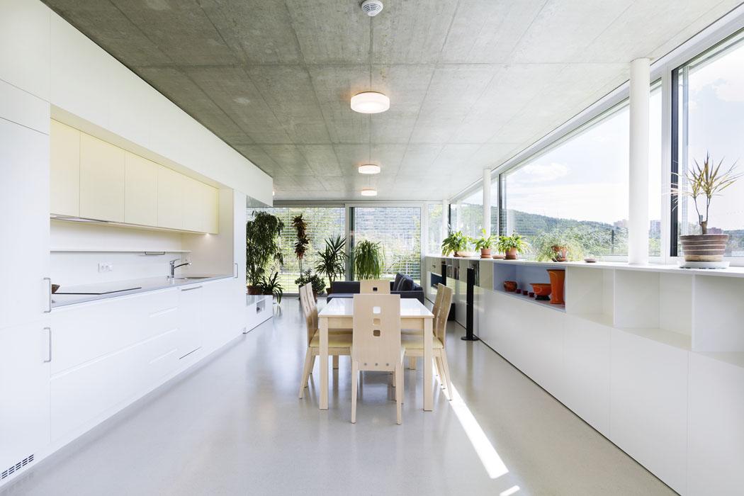"""Pracovní prostor kuchyňské linky, varná deska, dřez, včetně závěsných skříněk, je zapuštěn do niky v """"jádře"""", vestavěném do centrální části obytného prostoru."""