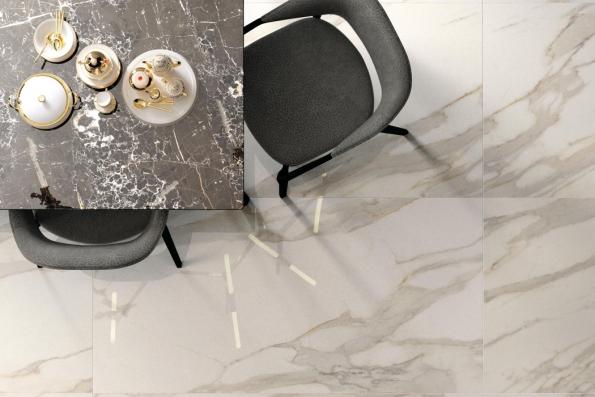 Keramické dlaždice Calcatta zkolekce Purity of Marble nepoznáte odleštěného mramoru. Vyrábějí se všesti dekorech (odsněhobílého až poantracitové zbarvení) veformátech od30 x 30 až do120 x 120cm (tloušťka pouhých 6mm), nabízí Ceramica Supergres