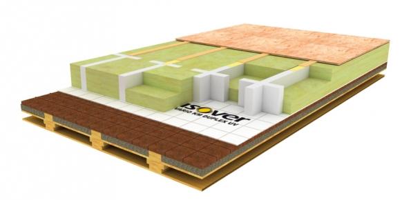 Obrázek: Na parotěsnou zábranu se připraví nosná část z tvrzeného pěnového polystyrenu a vzájemně se slepí PUR lepidlem. Do tohoto roštu se následně klade minerální tepelná izolace, která se na závěr přiklopí pochozími OSB deskami, které se šroubují do montážního prkna lepeného na EPS rošt.