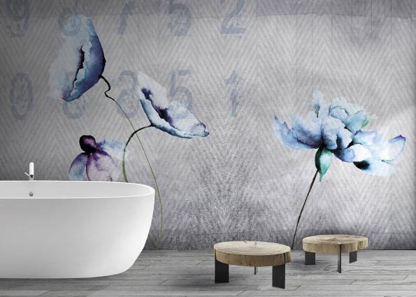 Díky voděodolným tapetám ze skelných vláken kolekce David Selection Watercolour rozkvete ivaše koupelna. Nafotografii je motiv Fleur, dodává společnost N.o.w. Edizioni.