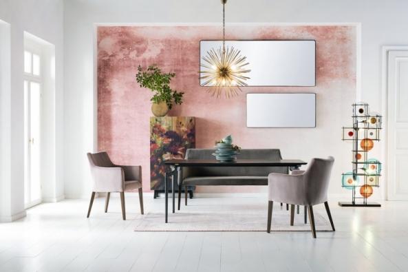 Color Therapy Blush, nová kolekce vybavení adoplňků značky Kare Design, je založena najemných pastelových barvách, ušlechtilém dřevu, zlatém kovu adalších luxusních materiálech