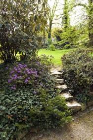 Pod kalinou vrásčitolistou kvetou fialové azalky usazené napodušce zbřečťanu. Kamenné schůdky zapuštěné dosvahu zkracují cestu naperfektně udržovaný trávník.