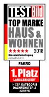 """FAKRO, světová dvojka na trhu střešních oken, bylo oceněno v žebříčku TOP MARKE HAUS & WOHNEN 2018. Výrobky FAKRO si získaly uznání mezi tisíci německých uživatelů. Firma FAKRO získala první místo v kategorii Střešní okna za """"Životnost výrobku"""". Průzkum byl realizován magazínem TESTBild ve spolupráci s firmou Statista, která provádí analýzy trhu."""