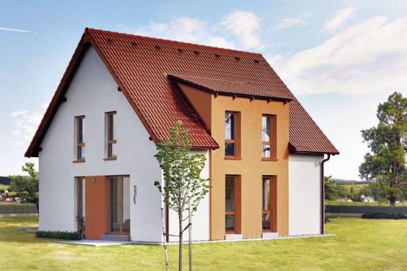 Dům Ideal umožňuje různé úpravy fasád ipřístavbu garáže či garážového stání (Zdroj: CANABA)