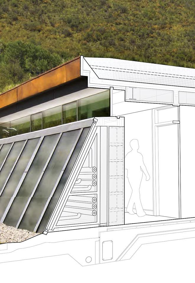Solární kolektory jsou umístěny najižní stěně ložnicové části. Zanimi architekt navrhl dutinu strubními rozvody astěnu svestavěnými skříněmi apřístupovými dveřmi krozvodům.