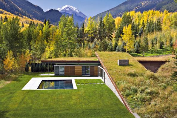 Travní porost nastřešních plochách domu je knerozeznání odopravdové horské louky.