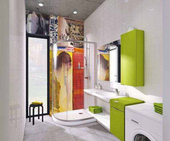 Osobitý provokující styl koupelny vyjadřuje momentální životní postoj uživatele. Výraznou grafiku nazadní stěně (voděodolná tapeta ze skelných vláken) doplňuje barevně lakovaný nábytek ze setu Tigo odJika. Koupelna rozhodně nenudí apřípadná obměna vhorizontu několika let nebude příliš náročná.
