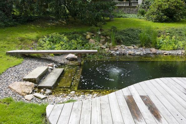 Jezero se dá vkusně realizovat ivestaré zahradě usecesní vilky (fotografie je tři roky pozaložení). Nebojte se nechat dřevo kolem jezera šednout, nenatírejte ho. Díky takovémuto zdánlivému detailu se vodní prvek velmi ochotně propojí se zbytkem vzrostlé zahrady.