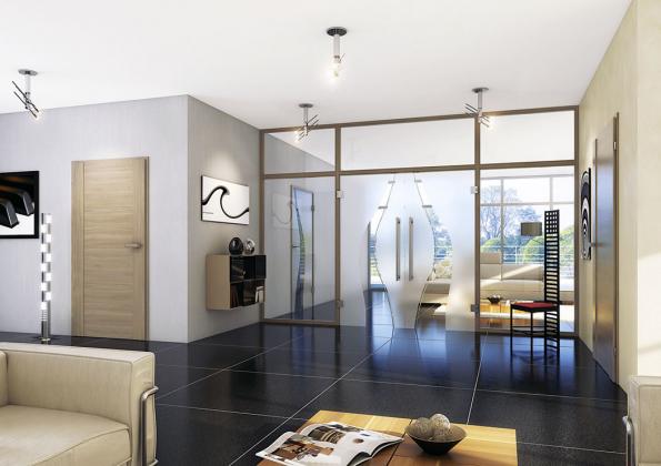 Dvoukřídlé celoskleněné dveře, motiv Opus, prosklená stěna.  Variant dělení prostoru je mnoho, kombinovat lze všechny základní prvky: dveře, boční světlíky inadsvětlíky (PRÜM)