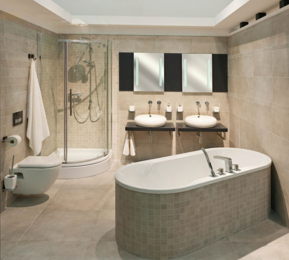 Moderní a pohodlná koupelna, v níž nic nechybí
