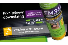 Nová PUR pěna illbruck FM365 je univerzální produkt určený pro široké spektrum stavebních činností. Dóza je naplněna polyuretanovou hmotou na množství 540 ml, reálná kapacita je však neuvěřitelných 750 ml