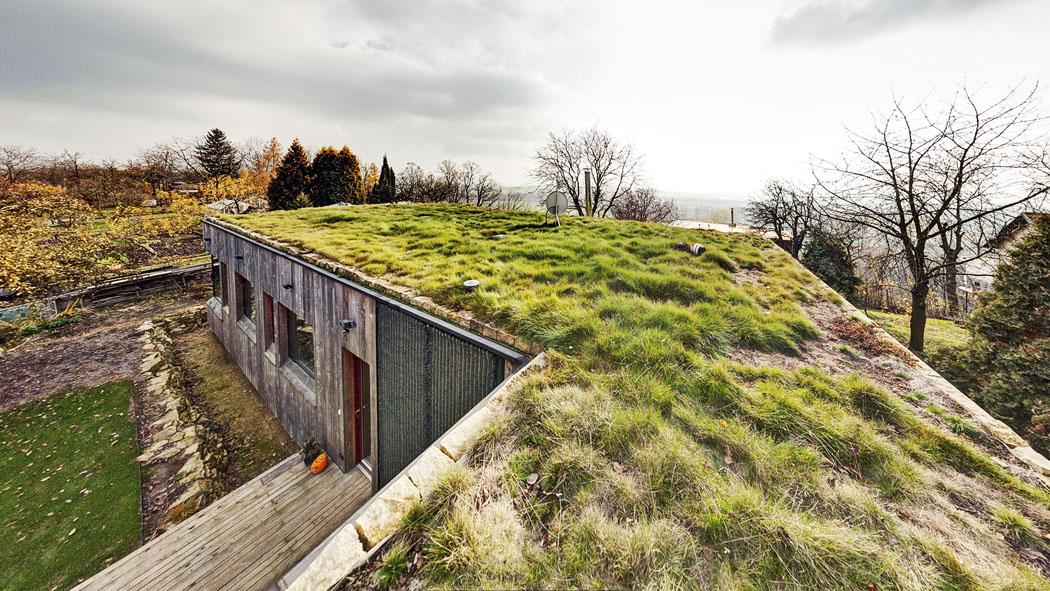 Zelená střecha stravnatým porostem pomáhá stavbě splynout sokolím astát se přirozenou součástí krajiny.