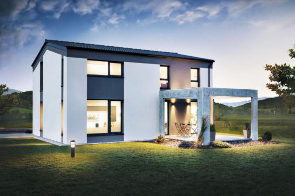 """Dům se odlišuje odběžné rodinné výstavby čistým tvarem azejména """"vysokým"""" podkrovím astřechou snízkým sklonem. Architektonický výraz lze měnit napřání stavebníků různým výběrem barev, obkladů, typu oken apod. Dům  vynikne v nové moderní čtvrti, ale dobře zapadne i do starší zástavby."""