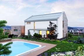 Jeden z realizovaných projektů ateliéru Thermo Plus, absolutní vítěz soutěže Důmroku2016, dvoupodlažní energeticky pasivní typový rodinný dům Iveta