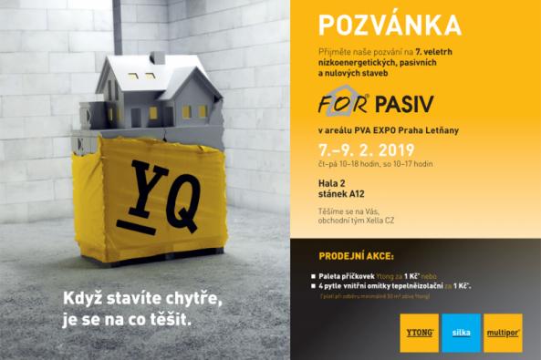 Na sedmém ročníku veletrhu For Pasiv 2019 se od 7. do 9. února na pražském výstavišti PVA Expo Prah představí nejnovější řešení nízkoenergetických, pasivních a nulových staveb. Společnost Xella najdete v hale 2 a můžete si prohlédnout stavební fragment, na kterém vám techničtí poradci předvedou kompletní systém Ytong, vápenopískové zdivo Silka a zateplení Multipor. Po dobu veletrhu je možné využít výjimečné akční nabídky zakoupení materiálu. (Zdroj: Xella CZ)